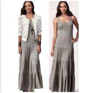 Cabi S Dress Gray Heathered Resort Tiered Maxi